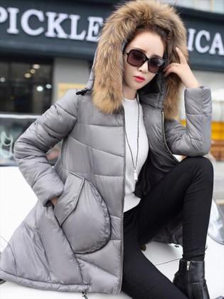 Áo phao nữ Hàn Quốc dáng high-low phối lông chồn cao cấp TA101