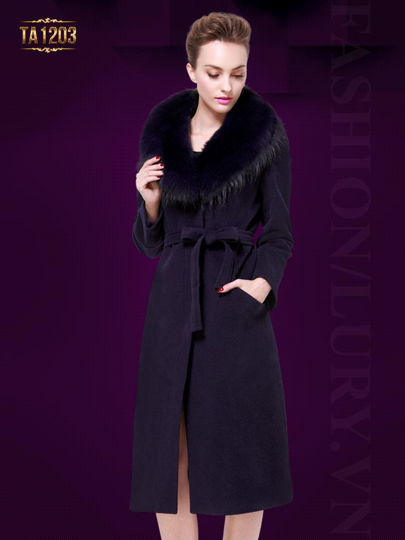Áo khoác dáng dài cổ lông Hàn Quốc cao cấp TA1203