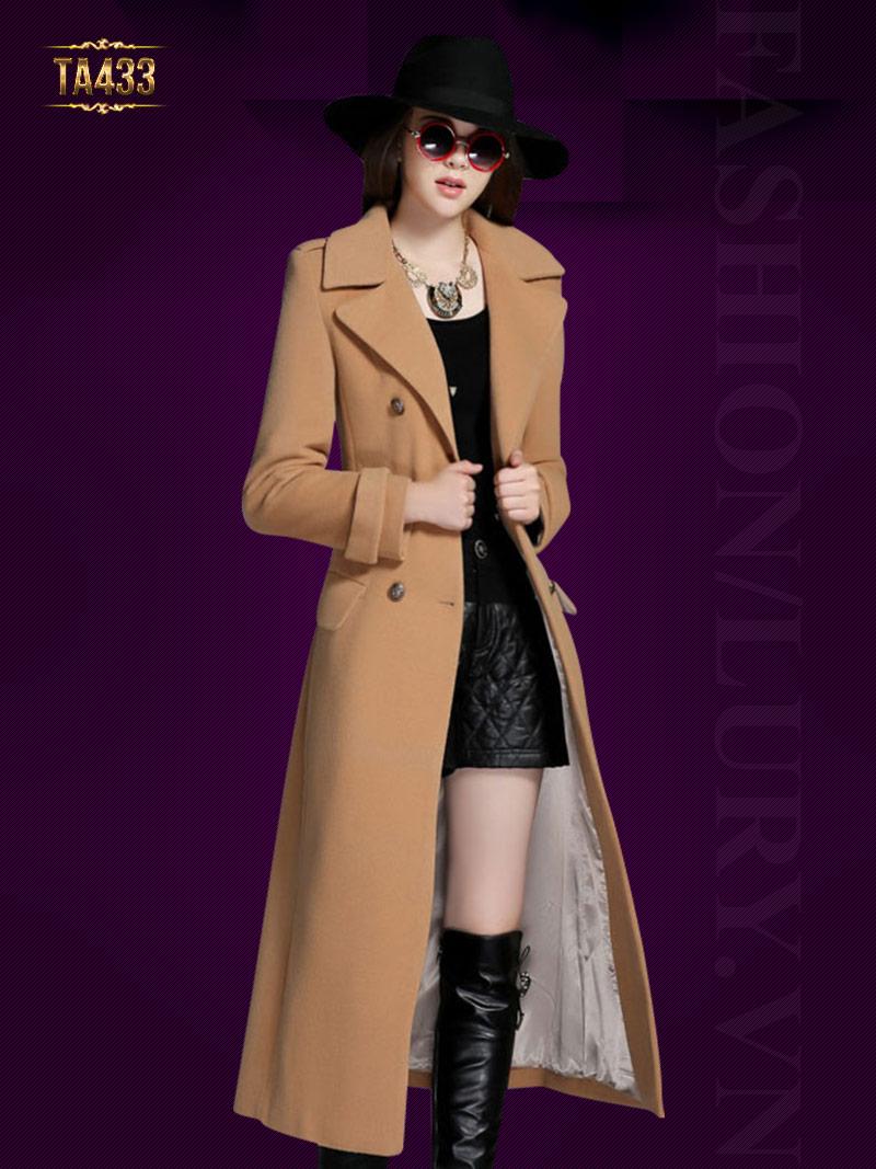 Áo khoác dạ nữ cổ vest thanh lịch, sang trọng.