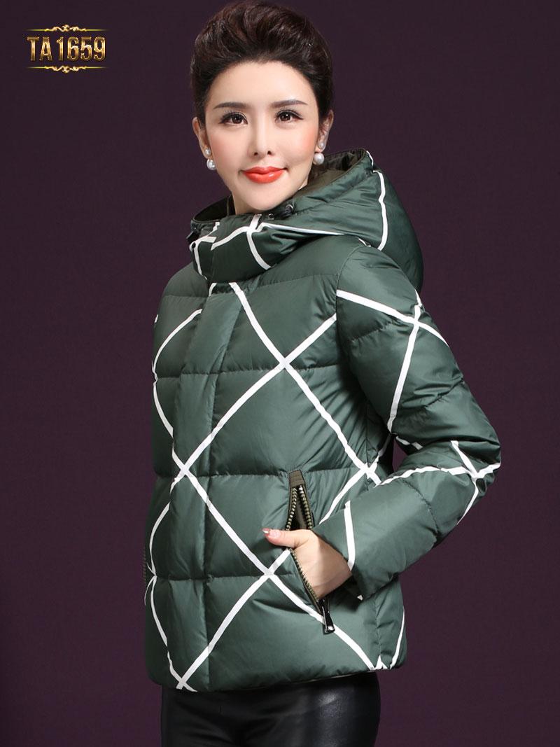 Áo khoác phao họa tiết khối cao cấp đơn giản nhưng tinh tế TA1659